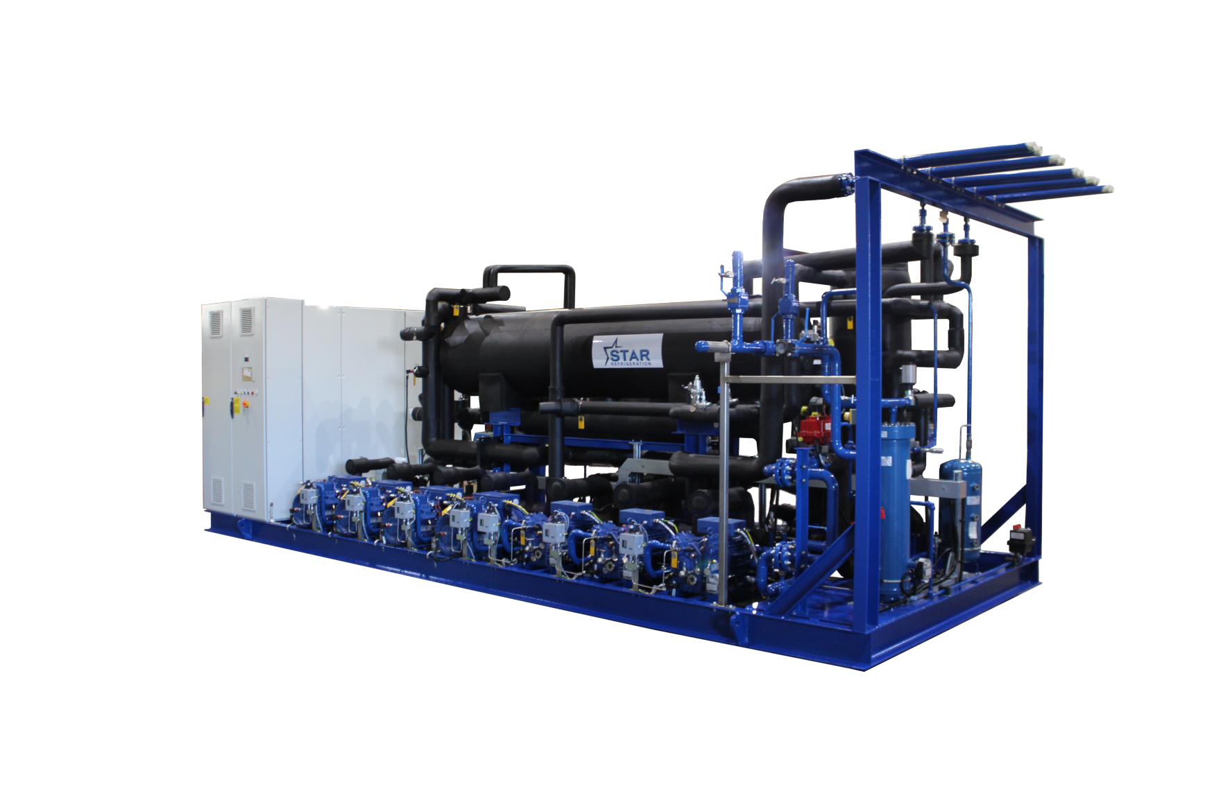 Transcritical CO2 Package with Low Pressure Receiver and remote gas cooler, for Spiral Freezer application